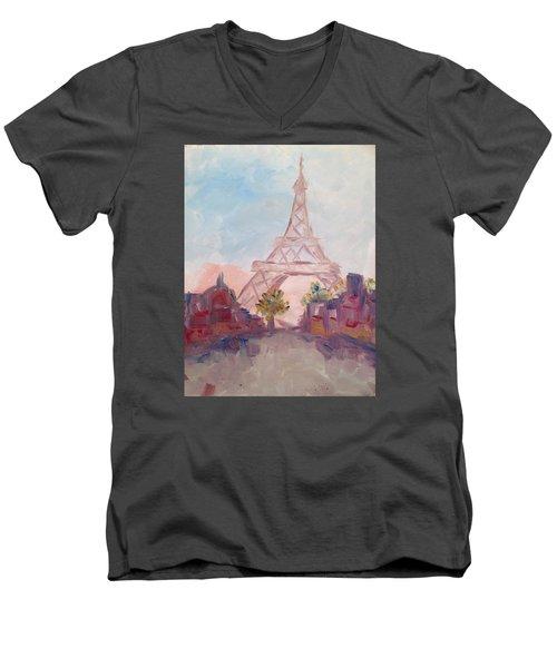 Paris In Pastel Men's V-Neck T-Shirt by Roxy Rich