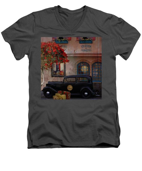 Men's V-Neck T-Shirt featuring the digital art Paris In Spring by Jeff Burgess