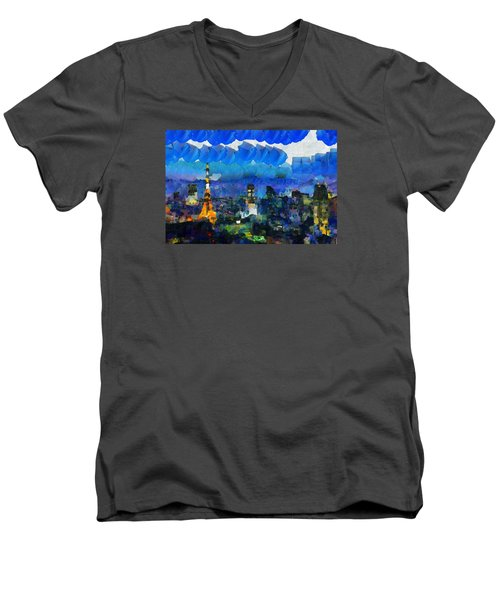 Paris Inside Tokyo Men's V-Neck T-Shirt by Sir Josef - Social Critic - ART