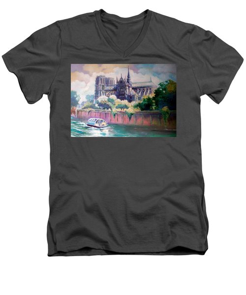 Men's V-Neck T-Shirt featuring the painting Paris Notre Dame by Paul Weerasekera