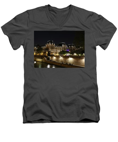 Men's V-Neck T-Shirt featuring the photograph Paris Police Headquarters by Andrew Fare