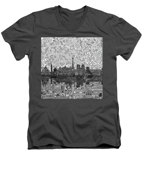Men's V-Neck T-Shirt featuring the painting Paris Skyline Black And White by Bekim Art