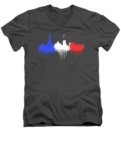 Paris Skyline  Men's V-Neck T-Shirt