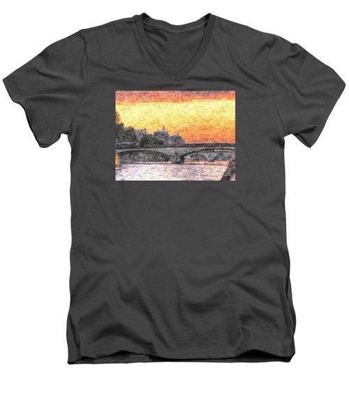 Paris Sunset Men's V-Neck T-Shirt by Yury Bashkin