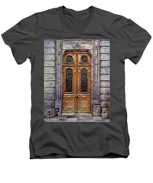 Men's V-Neck T-Shirt featuring the painting Parisian Door No. 15 by Joey Agbayani
