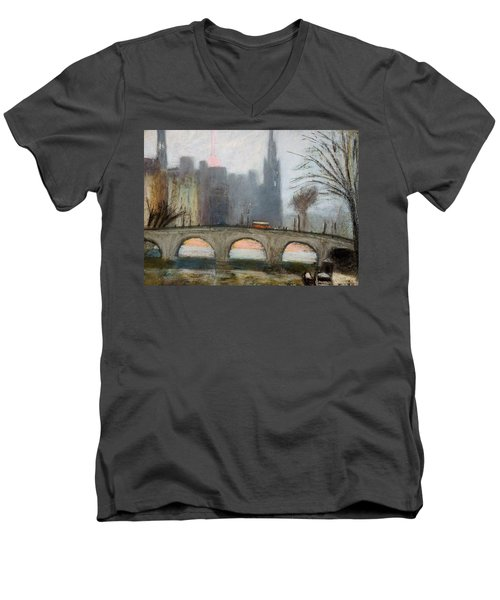 Men's V-Neck T-Shirt featuring the painting Parisian Gray by Gary Coleman