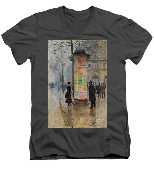 Parisian Street Scene Men's V-Neck T-Shirt by John Stephens