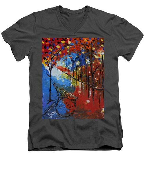 Park Bench Men's V-Neck T-Shirt by Gary Smith