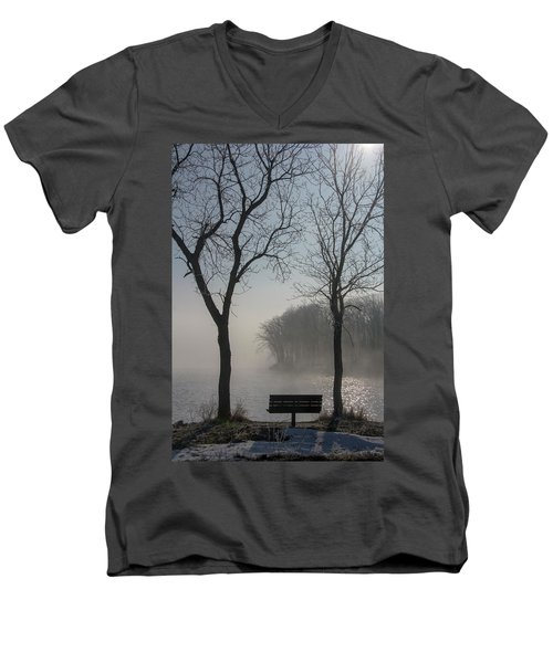 Park Bench In Morning Fog Men's V-Neck T-Shirt