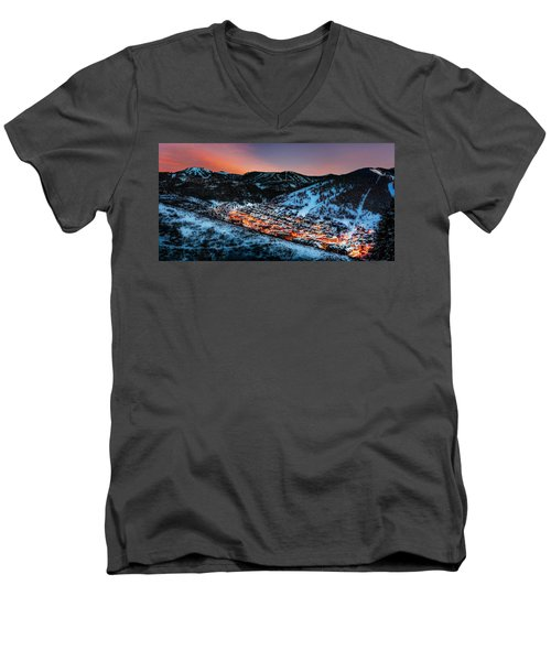 Park City Winter Sunset Men's V-Neck T-Shirt
