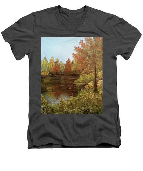 Park In Autumn Men's V-Neck T-Shirt by Angela Stout