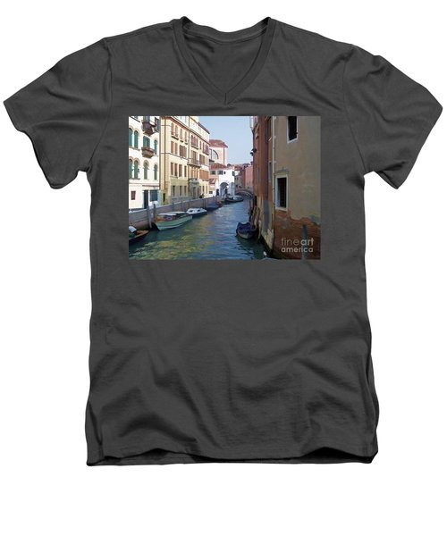 Men's V-Neck T-Shirt featuring the photograph Parked In Venice by Roberta Byram