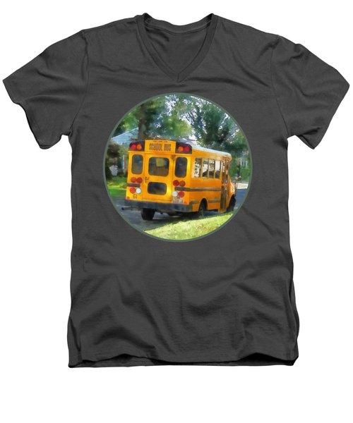 Parked School Bus Men's V-Neck T-Shirt by Susan Savad
