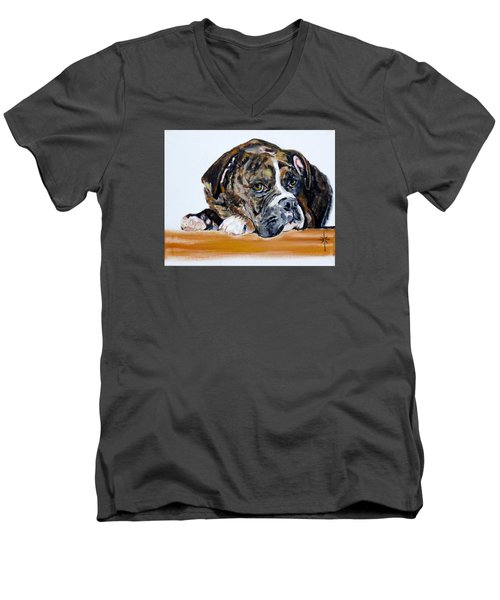 Men's V-Neck T-Shirt featuring the painting Parker  by Jodie Marie Anne Richardson Traugott          aka jm-ART