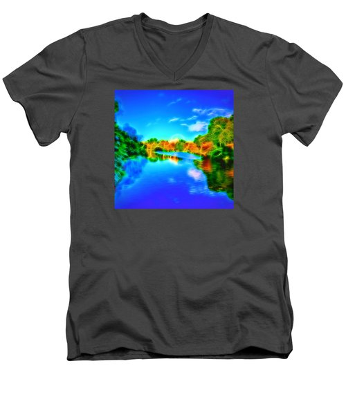 Men's V-Neck T-Shirt featuring the photograph Parkland Symphony by Andreas Thust