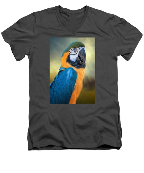 Parrot Men's V-Neck T-Shirt by David and Carol Kelly