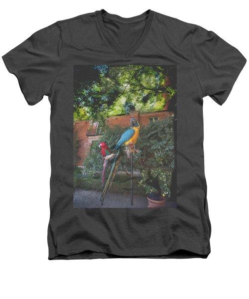 Parrots In The Garden Men's V-Neck T-Shirt
