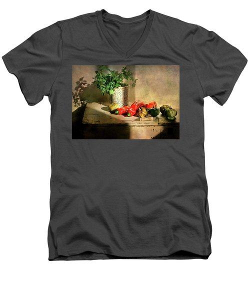 Men's V-Neck T-Shirt featuring the photograph Parsley And Peppers by Diana Angstadt