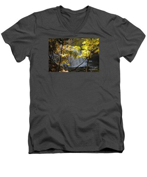 Men's V-Neck T-Shirt featuring the photograph Partridge Falls II by Sandra Updyke