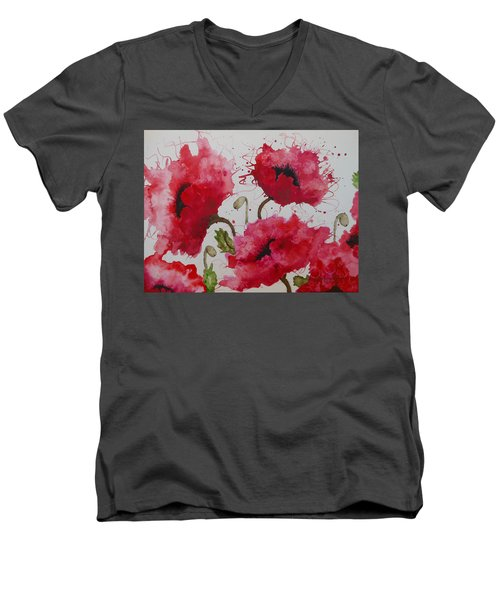 Party Poppies Men's V-Neck T-Shirt by Karen Kennedy Chatham