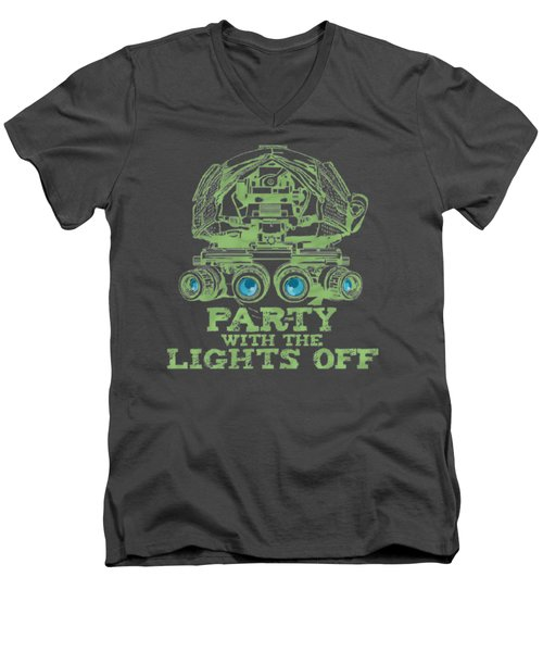 Men's V-Neck T-Shirt featuring the mixed media Party With The Lights Off by TortureLord Art
