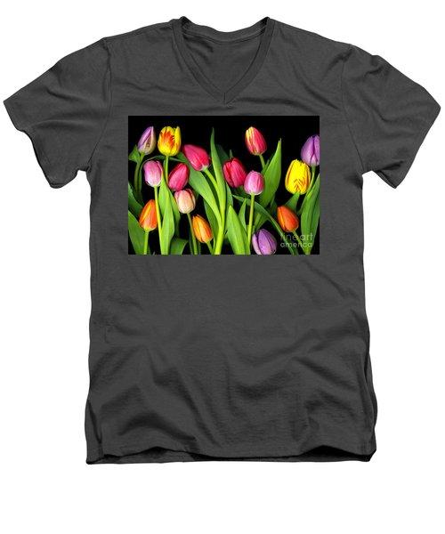 Tulips Men's V-Neck T-Shirt by Christian Slanec