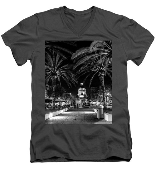 Men's V-Neck T-Shirt featuring the photograph Pasadena City Hall After Dark In Black And White by Randall Nyhof