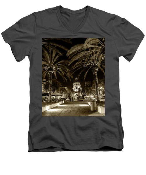 Men's V-Neck T-Shirt featuring the photograph Pasadena City Hall After Dark In Sepia Tone by Randall Nyhof