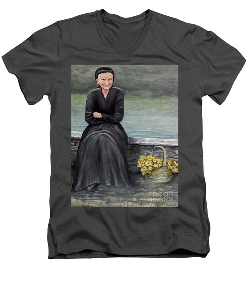 Men's V-Neck T-Shirt featuring the painting Pasqualina Di Scanno by Judy Kirouac