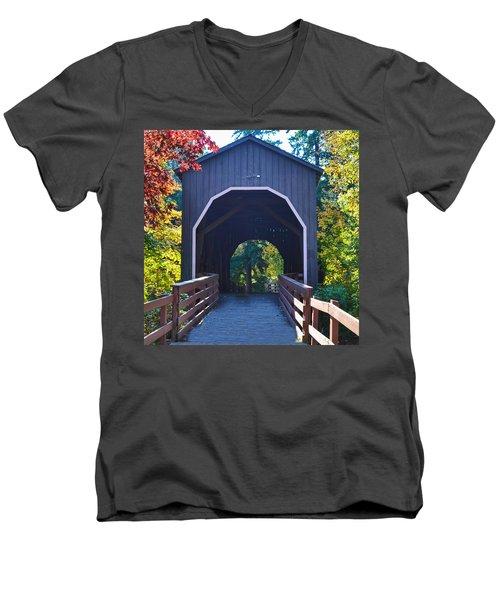 Pass Creek Covered Bridge Men's V-Neck T-Shirt by Ansel Price
