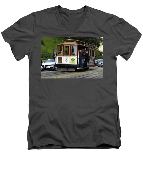Passenger Waves From A Cable Car Men's V-Neck T-Shirt by Steven Spak