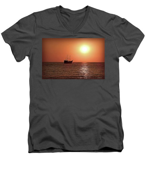 Men's V-Neck T-Shirt featuring the photograph Passing By In Calm Waters by Joan  Minchak