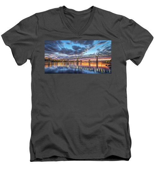 Passing Clouds Above Chattanooga Pano Men's V-Neck T-Shirt by Steven Llorca