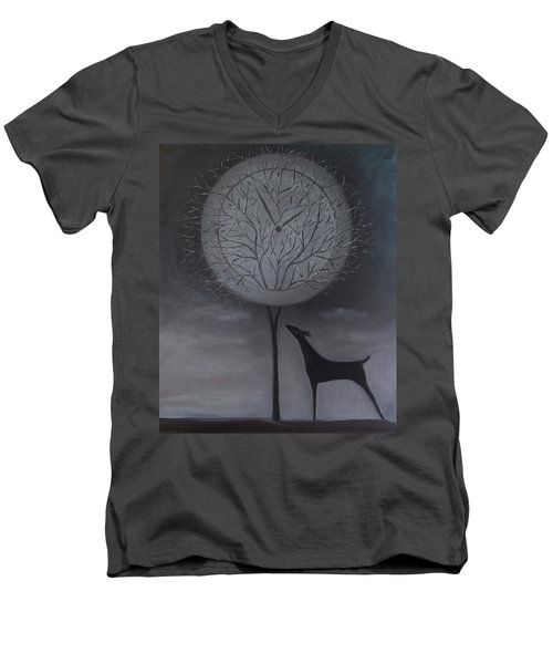 Men's V-Neck T-Shirt featuring the painting Passing Time by Tone Aanderaa