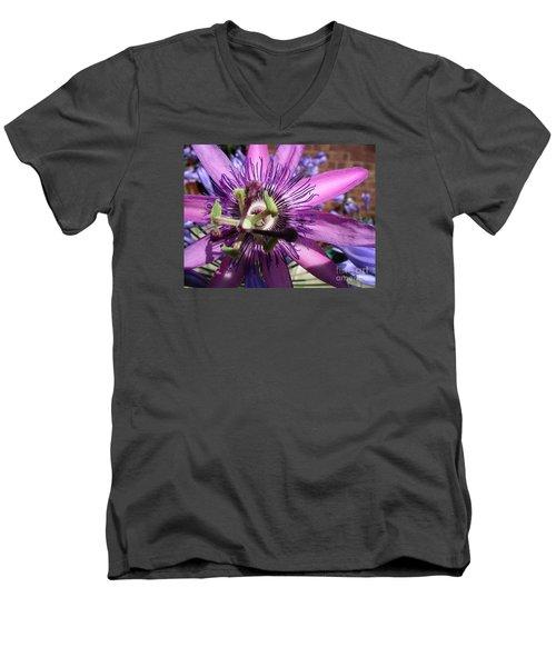 Men's V-Neck T-Shirt featuring the photograph Passion Flower by Jolanta Anna Karolska