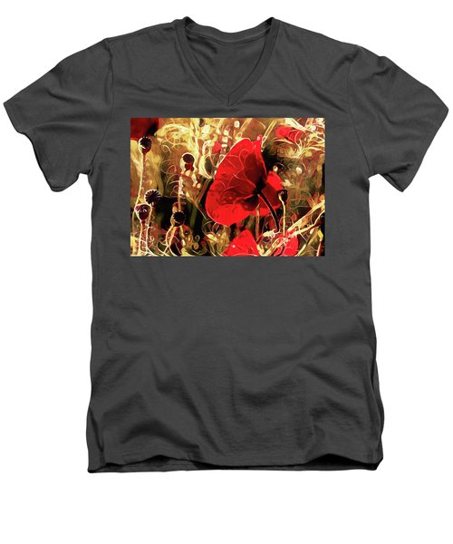 Passionate About Poppies Men's V-Neck T-Shirt