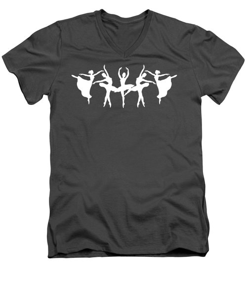 Passionate Dance White Ballerinas Silhouettes Men's V-Neck T-Shirt