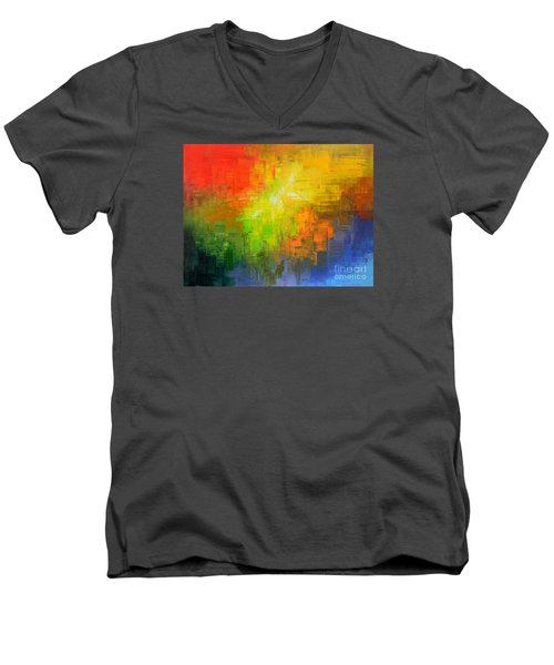 Men's V-Neck T-Shirt featuring the painting Passionate Plumage by Tatiana Iliina