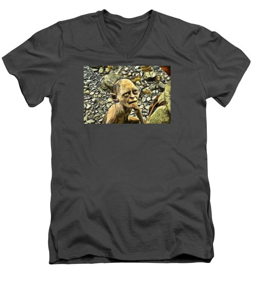 Men's V-Neck T-Shirt featuring the digital art Passionate Torture by Mario Carini