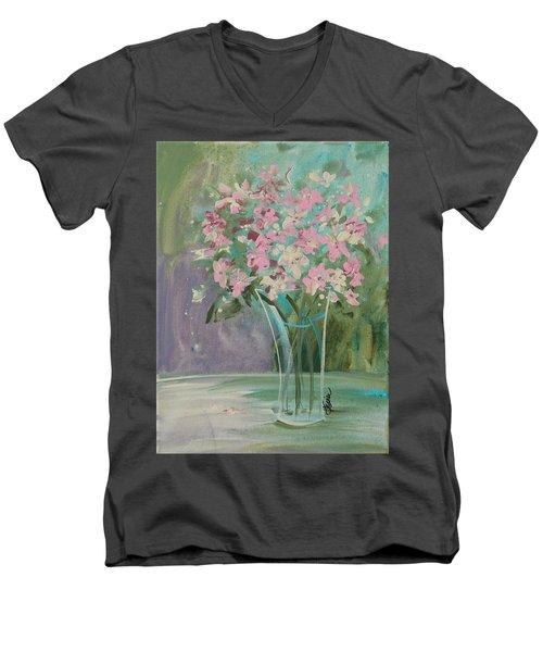 Pastel Blooms Men's V-Neck T-Shirt by Terri Einer