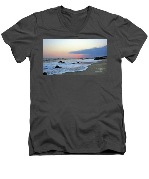 Men's V-Neck T-Shirt featuring the photograph Pastel Blue by Victor K