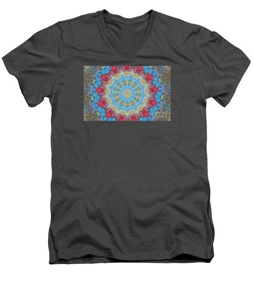 Pastel Medallion 2 Men's V-Neck T-Shirt by Shirley Moravec