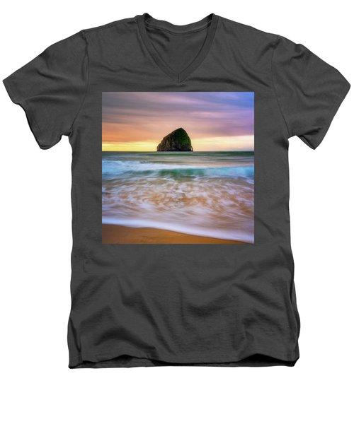 Men's V-Neck T-Shirt featuring the photograph Pastel Morning At Kiwanda by Darren White