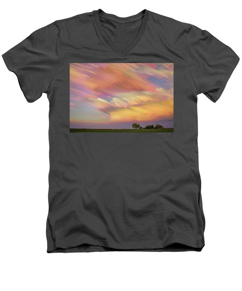 Men's V-Neck T-Shirt featuring the photograph Pastel Painted Big Country Sky by James BO Insogna