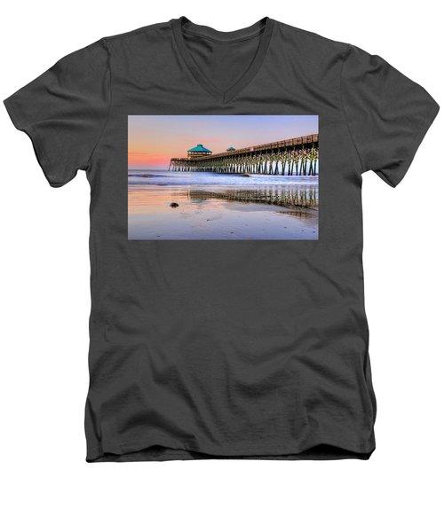 Pastel Sunrise On Folly Beach Pier In Charleston South Carolina Men's V-Neck T-Shirt