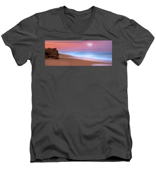 Pastel Sunset And Moonrise Over Hutchinson Island Beach, Florida. Men's V-Neck T-Shirt by Justin Kelefas