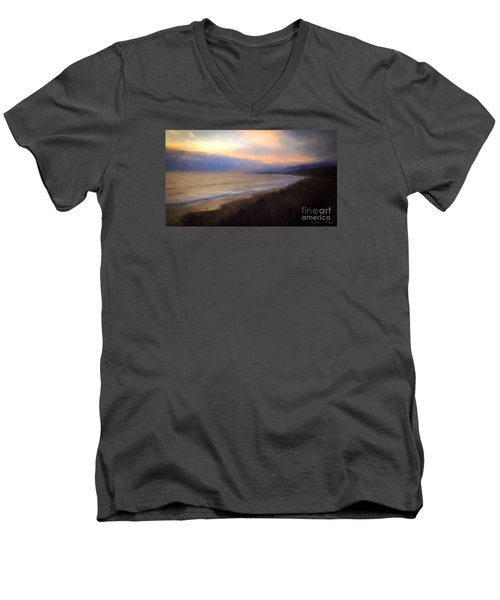 Men's V-Neck T-Shirt featuring the photograph Pastel Sunset by John A Rodriguez