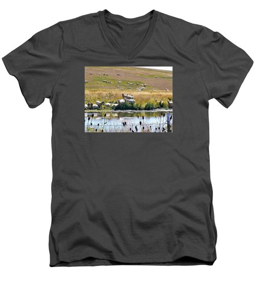 Men's V-Neck T-Shirt featuring the photograph Pastoral Sheep By Pond by Deborah Moen