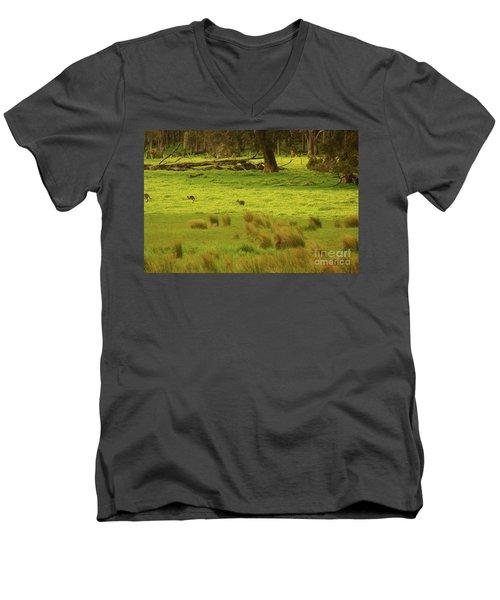 Pasture In Boranup Men's V-Neck T-Shirt by Cassandra Buckley