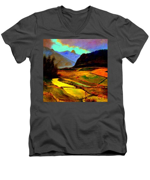 Pasture In The Mountains Men's V-Neck T-Shirt